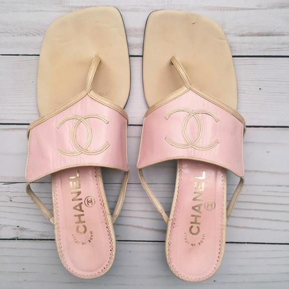 6aca536270ff CHANEL Shoes - Vintage Chanel thong sandals pink beige